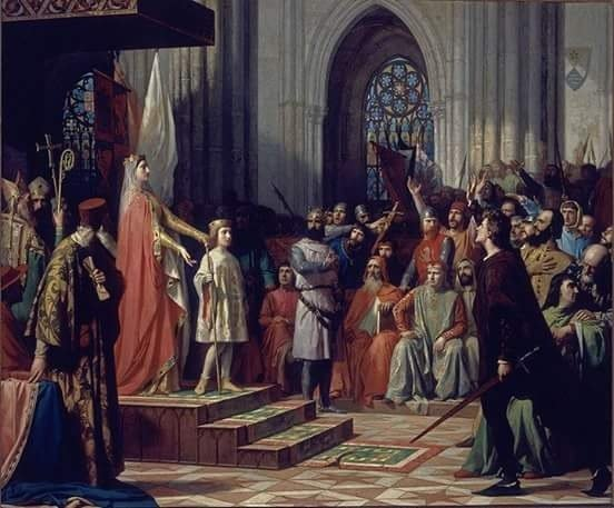 Cuadro Cortes de Valladolid en 1295 con María de Molina y Fernando IV