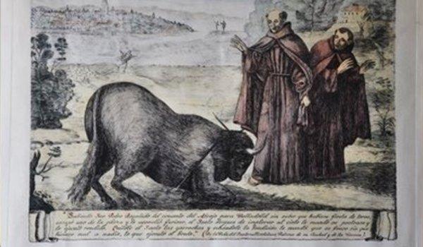 Milagro de San Pedro Regalado y el toro.